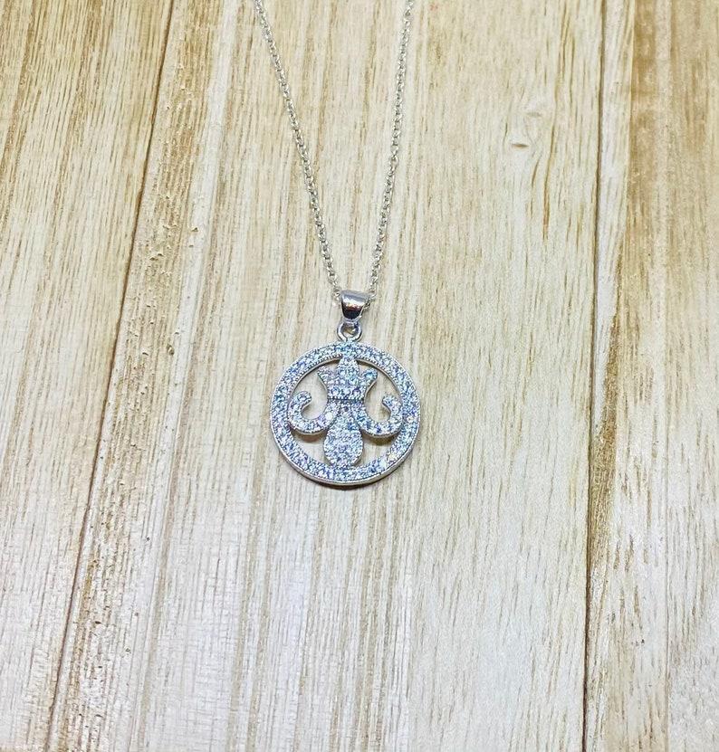 SilverSilver plated Art Deco Fleur de lis rhinestones pendantNecklace B810 item No