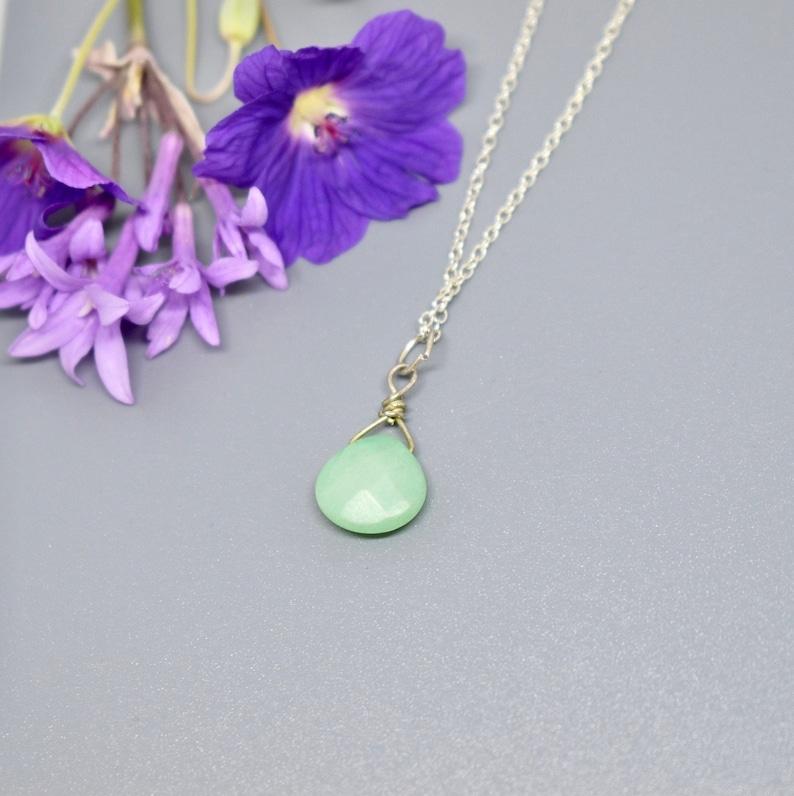 S347 Jadeite Pendant tear drop shape Anniversary S A L E silver Item No Delicate