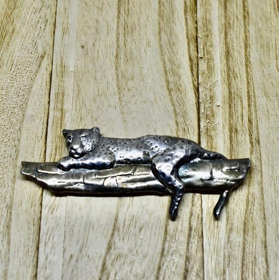 Large Silver leopard BROOCH, vintage animal figura