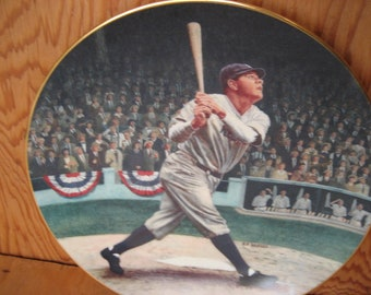 Vintage Babe Ruth Plate, Legends of Baseball, sports collectible