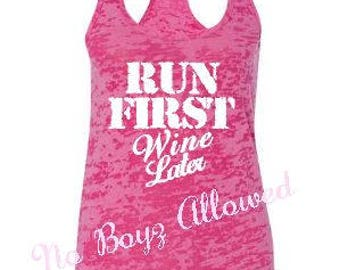 Run First Wine Later Fitness Tank