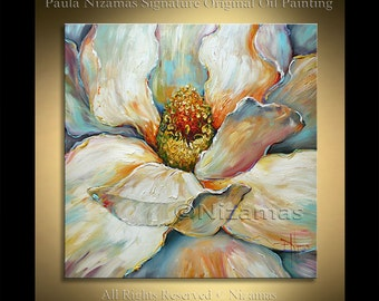 5e9650ce7 Acrylic and Oil large Magnolia Painting on canvas PALETTE KNIFE original  extra heavy texture art ready to hang By Paula Nizamas
