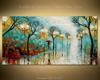 Oil painting on canvas Red Umbrella PALETTE KNIFE original extra heavy texture wall decor