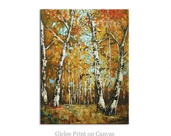 Aspen Trees Giclee PRINT on Canvas by Nizamas Gift Modern Home Decor ready to hang