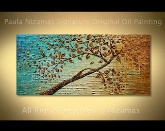 Painting Abstract Contemporary The Tree of Life Oil Heavy Palette Knife Texture by Nizamas Ready to Hang
