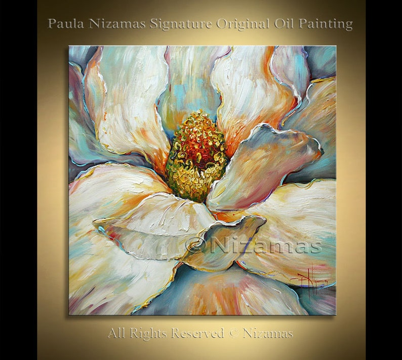Acrylic and Oil large Magnolia Painting on canvas PALETTE image 0