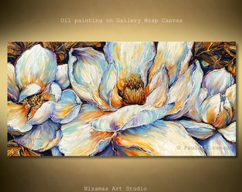 Oil painting adds an aura of traditional elegance to any room by Nizamas palette knife texture and brush strokes