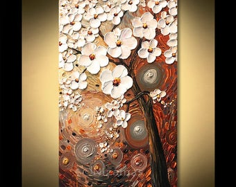 Painting on canvas Thick texture Palette Knife floral art by Nizamas ready to ship