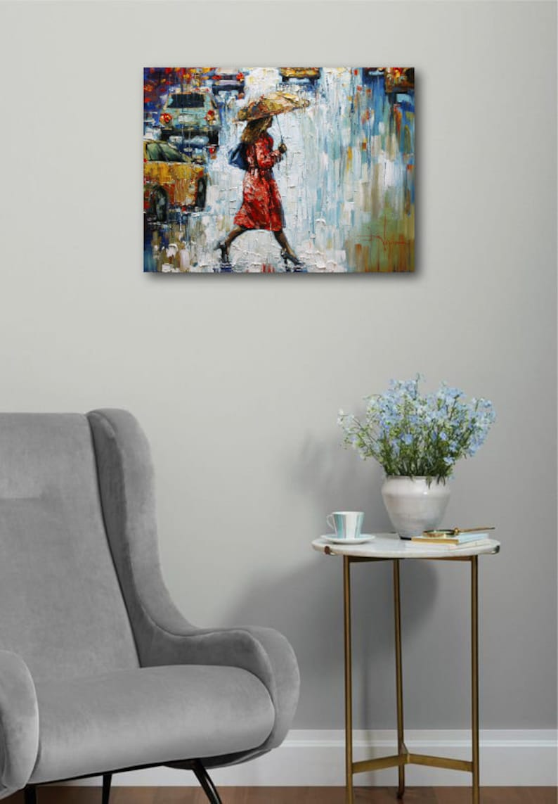 urban living by Nizamas ready to hang reflections of cars and figure in red coat in rainy afternoon Art on canvas
