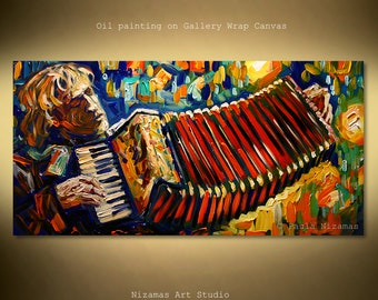 Oil painting, bold, vibrant color dance, gives any space a high end gallery look and feel palette Knife Ready to Hang by Nizamas music art