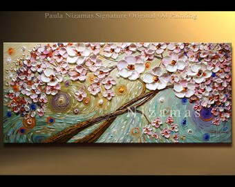 Painting on canvas Contemporary Blooming Tree art Heavy Palette Knife Texture by Nizamas