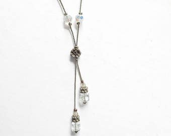 COOL JEWELS 90s AB Crystal Beaded Lariat Necklace