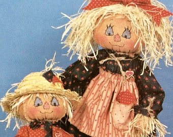 "Doll Making Pattern LITTLE SNOOSE and CORNCOB  Sewing 15"" Scarecrow Dolls Fancy Colorful Fall Whimsical My Sister and I"