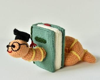 Bookworm Crochet Pattern, Crochet Bookworm Amigurumi, Book Crochet Pattern, Crochet Book Amigurumi, Crochet Worm Amigurumi, Book lovers
