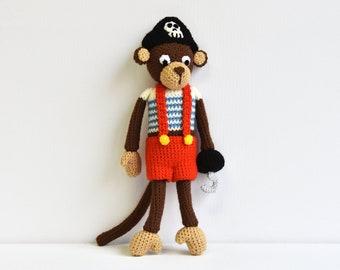 Pirate Monkey Crochet Pattern, Pirate Monkey Amigurumi, Crochet Monkey Amigurumi Pattern, Crochet Pattern, Pirate Monkey Crochet Pattern