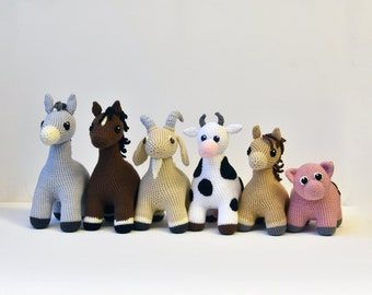 Farm Crochet Pattern Set, Farm Animals Crochet Pattern, Pig Pattern, Horse Pattern, Goat Pattern, Cow Pattern, Pony Pattern Amigurumi Animal