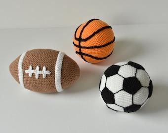 Ball Sports Set Crochet Pattern, Football Amigurumi, American Football Amigurumi, Crochet Basketball, Sports Crochet Pattern, Crochet Ball