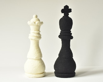 Chess King and Queen Crochet Pattern, Chess Amigurumi, Queen Amigurumi, Chess Crochet Pattern, Crochet Chess Pieces, Crochet King Amigurumi