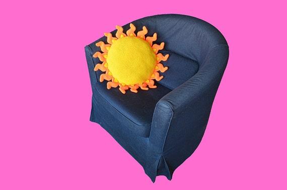 Sun Pillow Crochet Pattern - Summer Pillow Crochet Pattern - Sunny Pillow - Happy Hippy - Flower Power - PDF Pattern - Crochet Sun Pattern - How to Crochet Summer Pillow Patterns