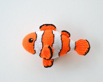 Clownfish Crochet Pattern, Clownfish Amigurumi, Tropical Fish Crochet Pattern, Tropical Fish Amigurumi Pattern, Clown Fish Crochet Pattern