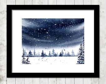 "Winter Twilight - 5x7"" PRINT of original watercolor painting, winter sky art print, winter landscape art print, monochromatic art print"