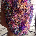 XL Plus Size Crocheted Rainbow Slouchy Beanie Beret Tam Cancer Cap Knit Boho Chic Trendy Hat Soft Black Edge Multi-Colored Sari Silk Rasta