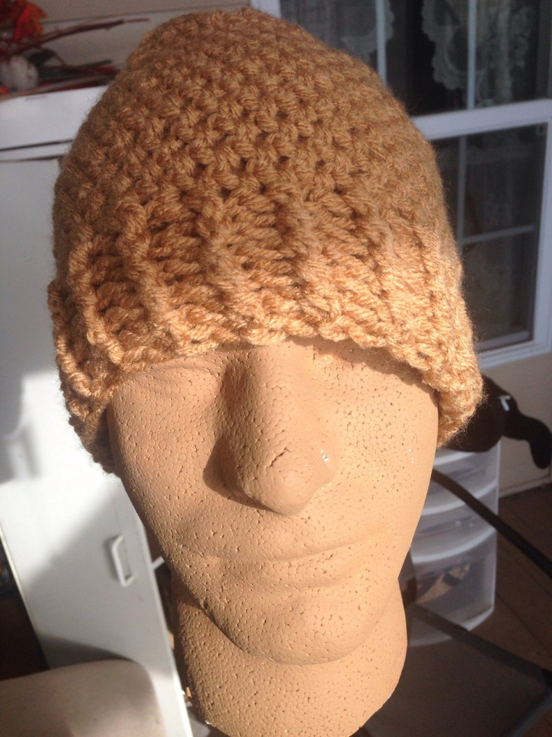 Winter Tan XXL Beanie Skullcap Brown Knit Crochet Sock Cap Hiking Ski Snow Hat Ribbed Cuff Beige Plus Size Toque