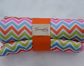 Multi-Colored Chevron w/ Pink Fleece - Waterproof Baby Changing Pad (Made to Order)
