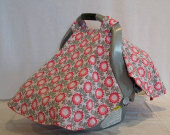 Contoured Pink & Grey Floral Car Seat Canopy (Made to Order)