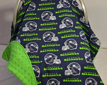 Contoured Seahawks Car Seat Canopy (Made to Order)