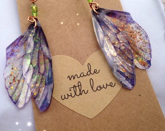 Bespoke Gorgeous Magical Fairy Wing Earrings - made to order xx