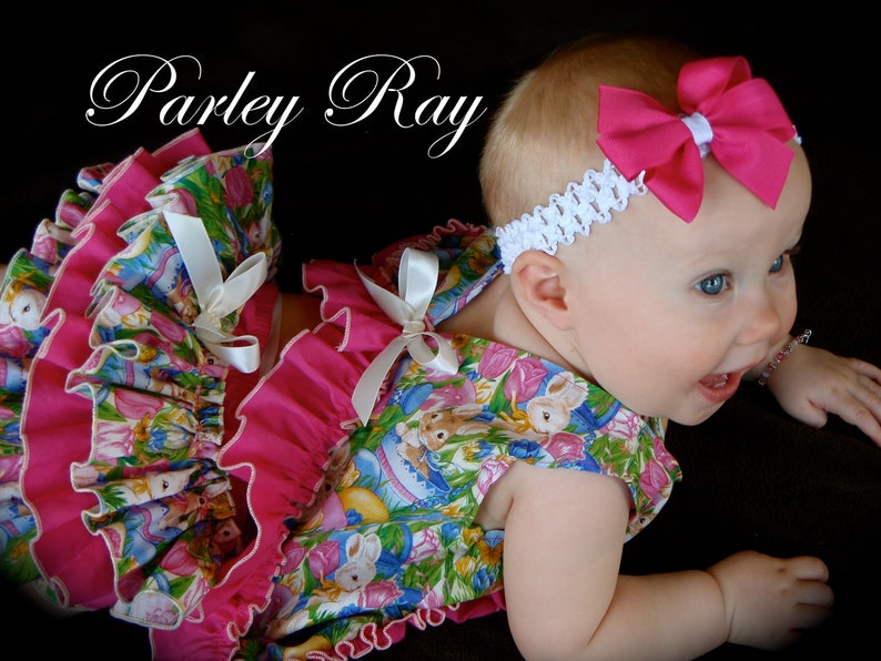 Parley Ray Easter Bunny Garden Party Spring Pinafore Dress with Ruffled Baby Bloomers Diaper Cover  Photo Props