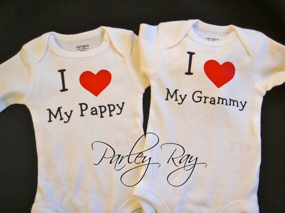 Grandpa Baby Outfit Grandpa Baby Bodysuit Grandpa Baby: Custom Baby Bodysuit I Love My Pappy/ Grammy Grandpa