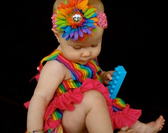 A Beautiful Parley Ray Rainbow Birthday Pinafore Dress with Ruffled Baby Bloomers/ Diaper Cover / Photo Props