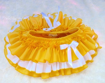 Beautiful Parley Ray Baby Girls Ruffle Skirt Yellow All Around Ruffled Baby Bloomers/ Diaper Cover / Photo Props
