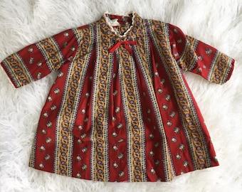 60's/70's Kate Greenaway Boho Floral Dress 2T Vintage