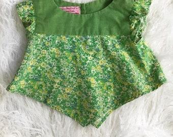 Vintage Handmade Girls Handkerchief Top 24M/2T Green Floral