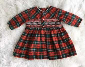 60's/70's Vintage Kate Greenaway Holiday Red Plaid Dress 2T