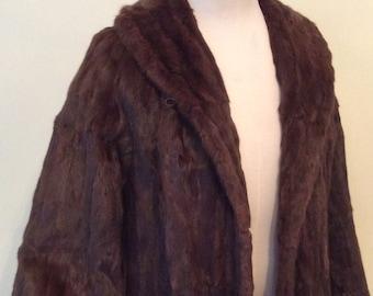 """Vintage Fur Coat - Mink Fur -short jacket -Hollywood glamour -Dark Brown -Sm-Med 36""""-38"""""""