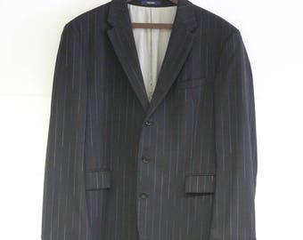 56360656 Vintage Kenzo Mens Blazer -Pinstripe Suit Jacket-Designer Quality  Menswear-blue-two tone-Black- Formal-Large 42 chest