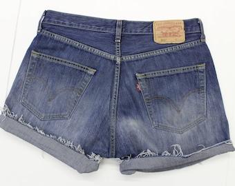 9c8878c9fe93 Vintage Levi s Denim Shorts - Distressed - -Blue denim -pockets - short-  turn up-unisex-32 W