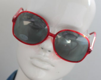 d347b4c7fb Vintage Oversized red Sunglasses -See through plastic Red stripe Huge large  Retro Glasses celebrity -plastic frames-unworn