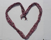 Vintage Silk Scarf -heart pattern - long thin bow tie accessory gift - pure silk fabric