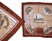 Vintage scarf-pocket square - venice - italy -souvenir scarf - gondola boat - romantic - horses