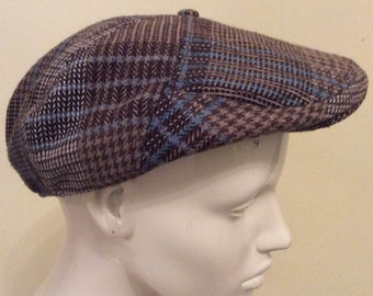 Vintage Tweed Cap - Herringbone Check Wool - Newsboy Flat Cap - Country  Classic Hat-unisex- Driving cap - Brown Blue - Large - 24