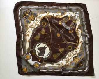 Vintage Scarf - Horse Equestrian- Horses  -head scarf -pocket square - necktie neck scarf -cowboy western