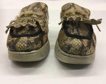 Vintage Snakeskin Platform wedges loafers- snake skin fur - UK 6 EUR39