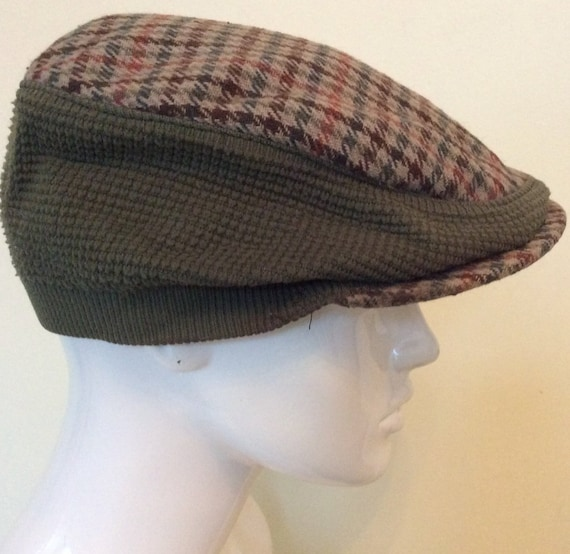 8292e0d92 Vintage Tweed Cap - Houndtooth - Newsboy Flat Cap - Country Classic  Hat-unisex- Driving cap - Medium 24""