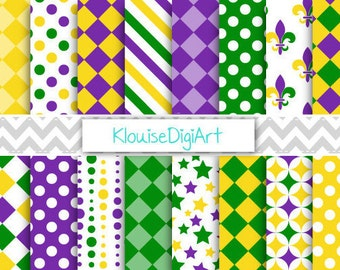 0f433fb2a Mardi Gras Digital Printable Papers in Green