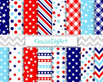 Red, Bright Blue and Navy Blue Patriotic July 4th Independence Day Digital Papers for Personal and Small Commercial Use (0079)